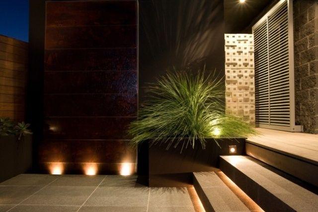 Marvelous Garten Innenhof Gestaltung Boden Belag Fliesen Beleuchtung Mit Bodenlampen