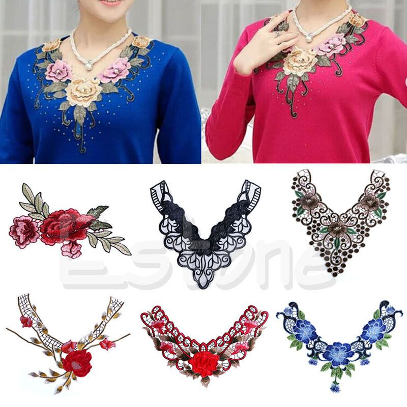Flower Lace Embroidered Applique Sew On Patches Clothes Neckline Collar Trim DIY