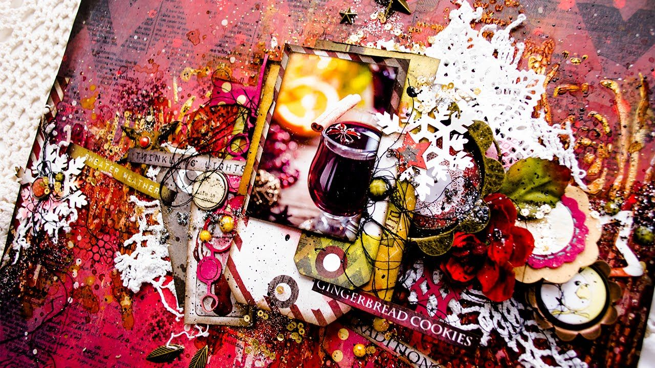 "Layout ""Mulled wine"" - Step by step tutorial for Mixed Media Place"