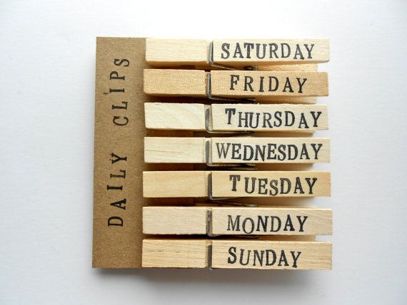 Days of the Week Clothespins. A great way to organize your to do lists, your paperwork to fill out or mail, or even homework that is due for your kids.
