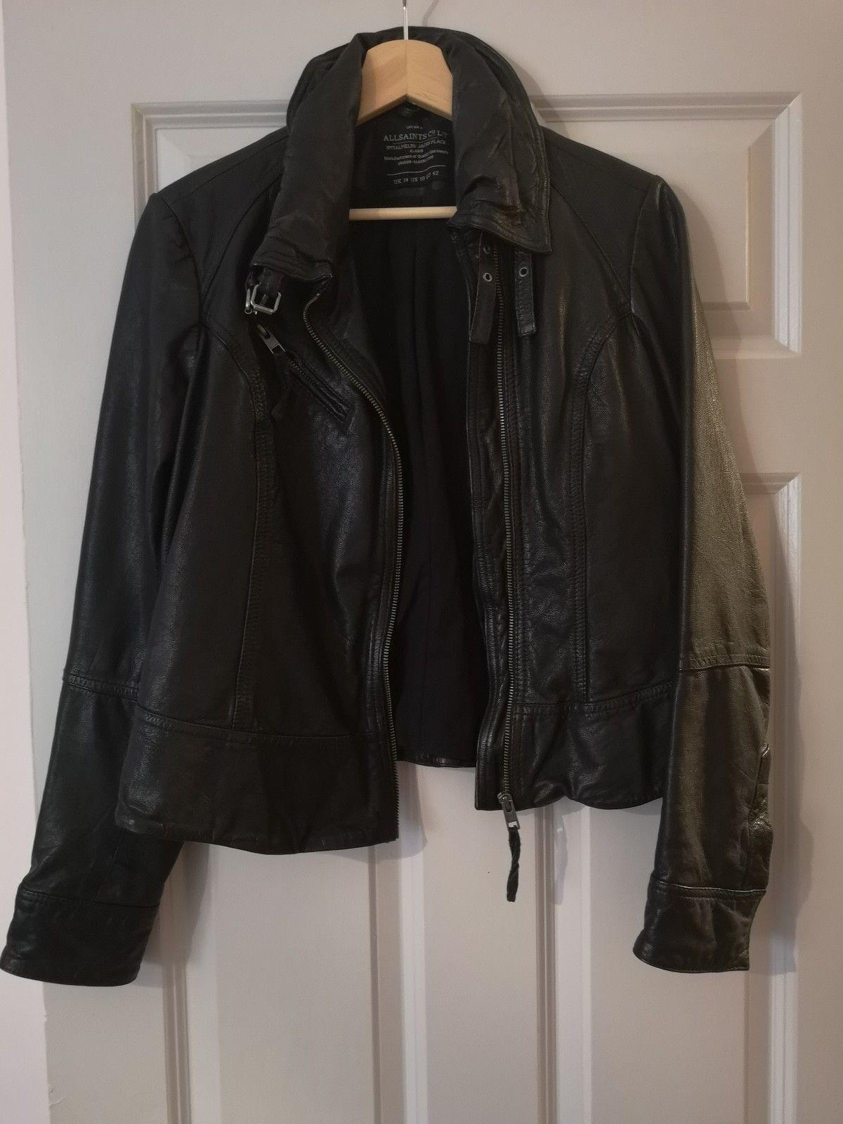 All Saints Black Leather Jacket Size 12 14 Womens
