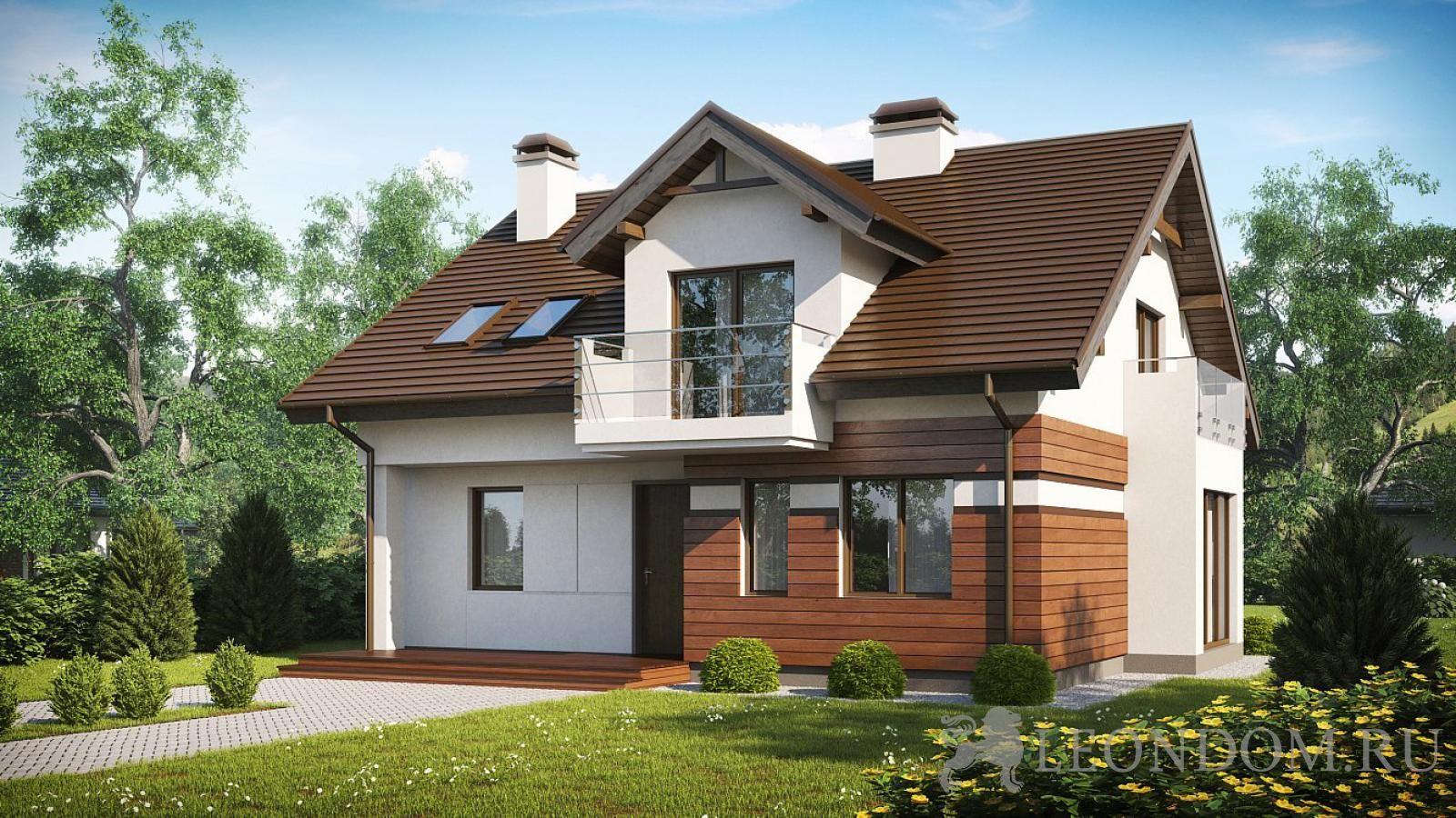 Проект дома с мансардой, эркером и балконом над ним - при ...