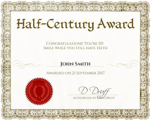 Half Century Award Certificate for 50th birthday - Customizable with - Award Maker