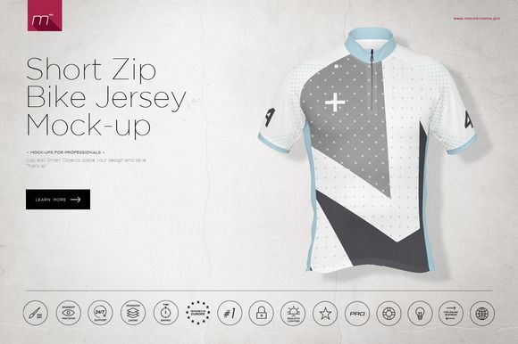 Short Zip Bike Jersey Mock-up by mesmeriseme.pro on  creativemarket ... 3948c4e6b