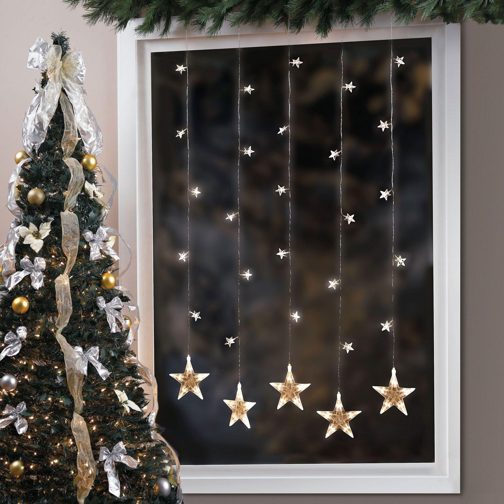 Pre Lit Star Window String Light Christmas Decor Brylanehome