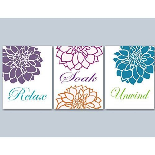 Relax Soak Unwind   Bathroom Wall Art   Dahlia Bathroom Decor   Purple Gray Bathroom  Art   Bathroom Wall Quotes   Spa Art   Bathroom Artwork Pictures SET OF ...