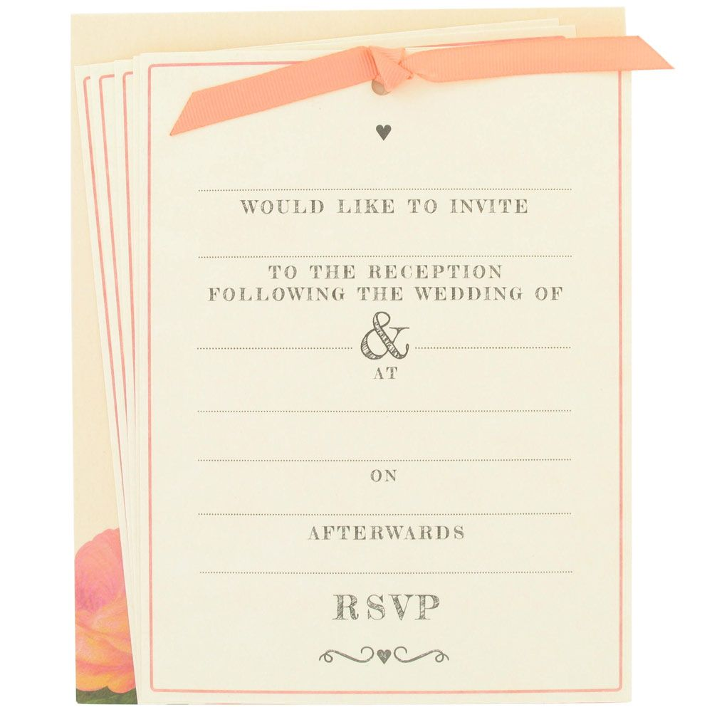 roses wedding evening invitations - 10 pack from Paperchase ...