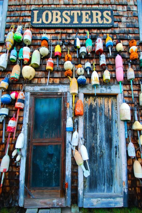 Colors of Maine = lobster buoys! Ever summer and Christmas :)