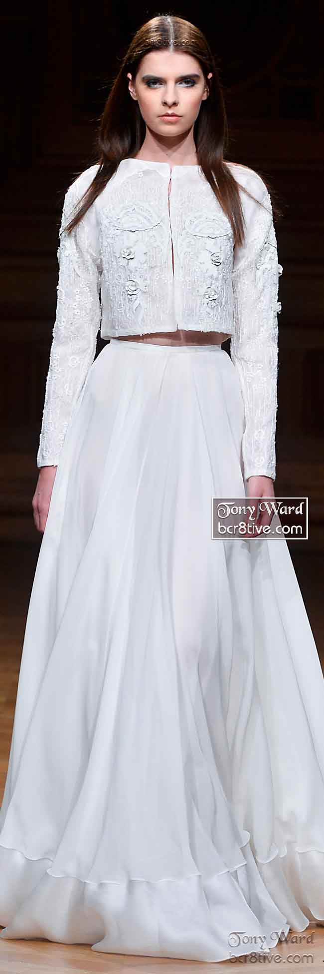 Billowing Silk Ruffled White Maxi Skirt and Cropped Jacket