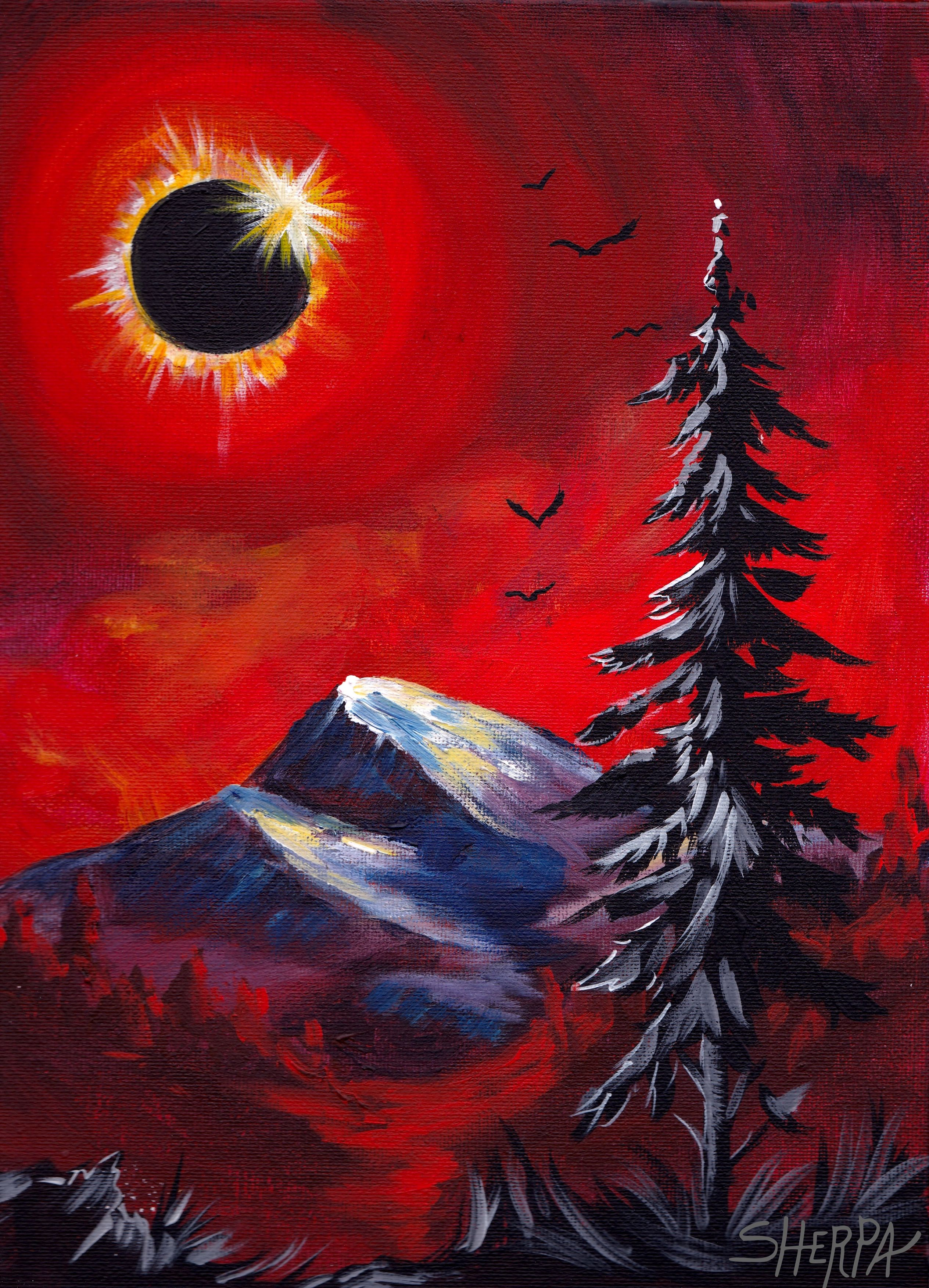 Acrylic Painting of diamond ring Eclipse over