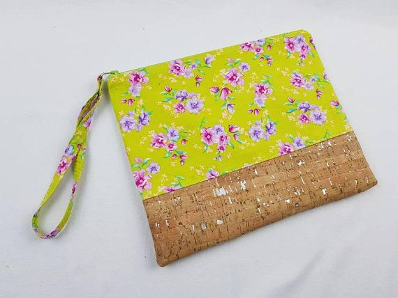 Zipper pouch. floral on fluro yellow fabric . zipper pouch wallet. clutch wallet. pencil case. travel bag. nappy wallet. nappy clutch. bag organiser