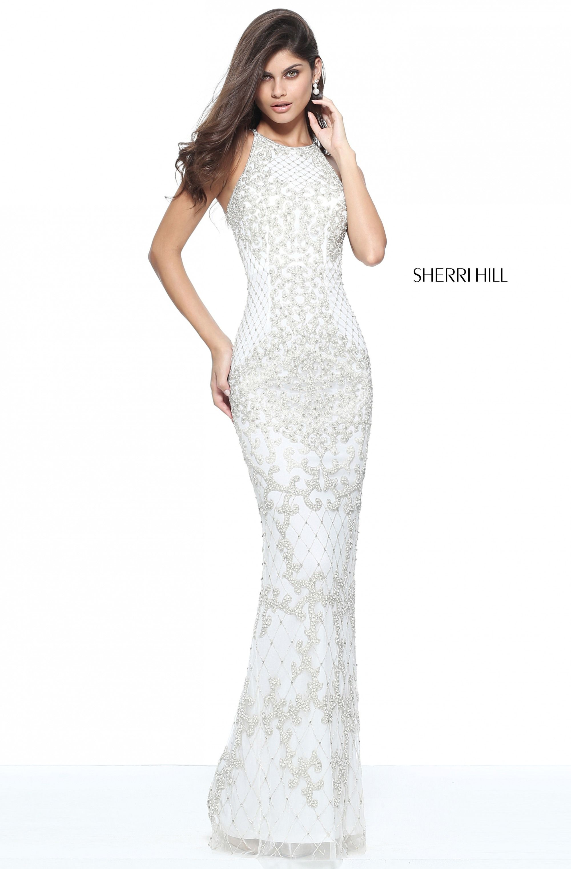 Sherri hill ivory white fitted ypsilon dresses pageant bride