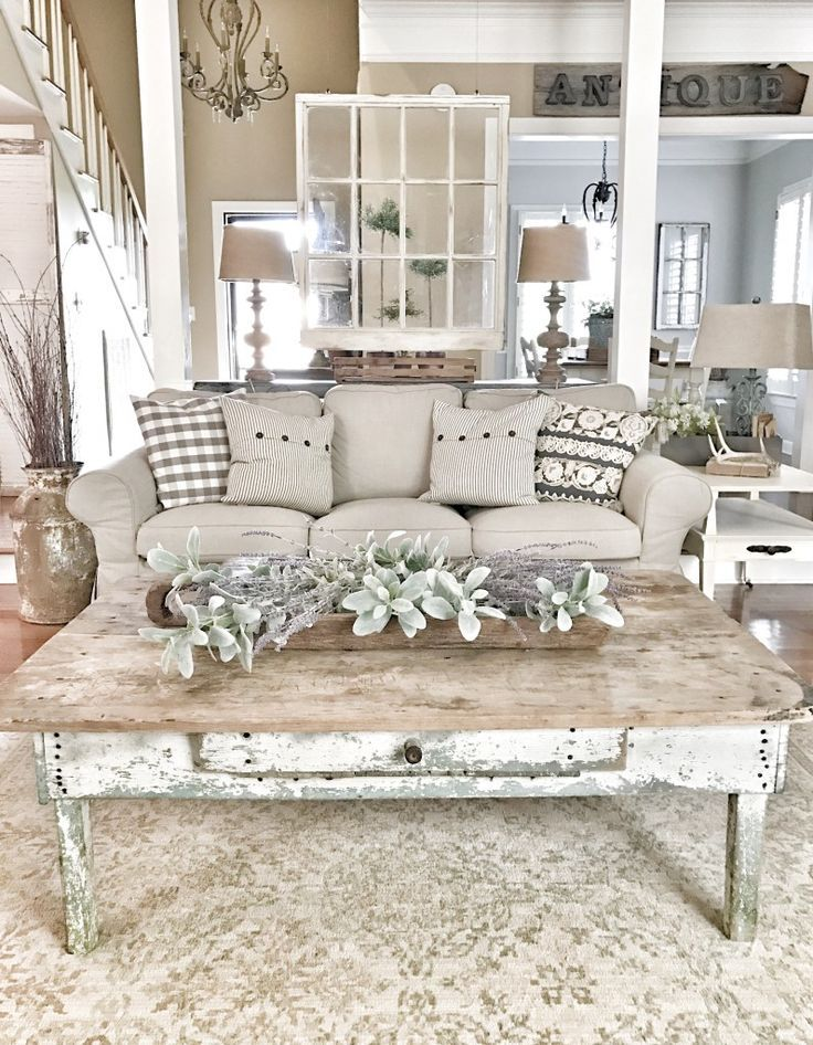 Bless This Nest Farmhouse Living Room Chippy Window And Coffee Table Decor With Images Farmhouse Decor Living Room Country Living Room French Country Living Room