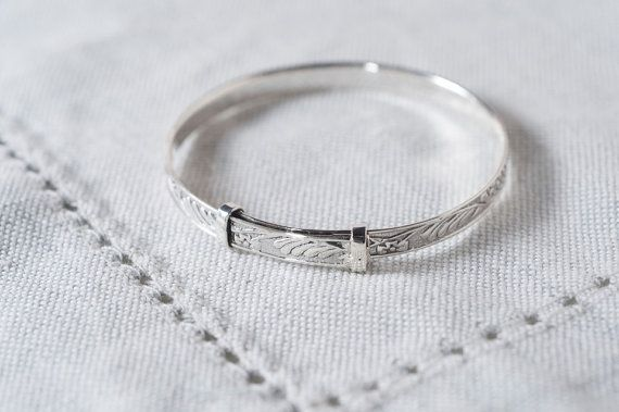 Personalized Sterling Christening Bangle by CherishUs on Etsy