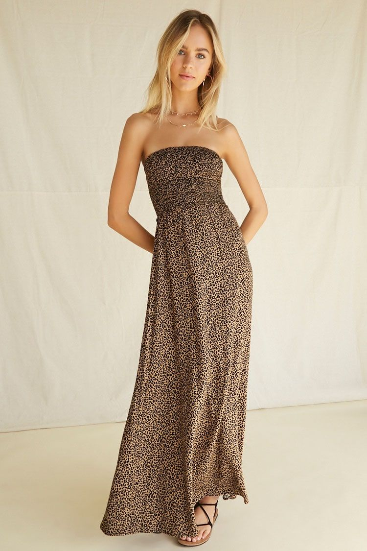 Leopard Smocked Bodice Maxi Dress Forever 21 Strapless Casual Dress Leopard Maxi Dress Smocked Maxi Dresses [ 1125 x 750 Pixel ]