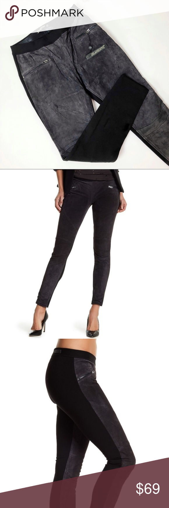 618e8a118eefea BlankNYC | Suede Leather Pull On Leggings | NWT New with tags. Gray suede  paneled