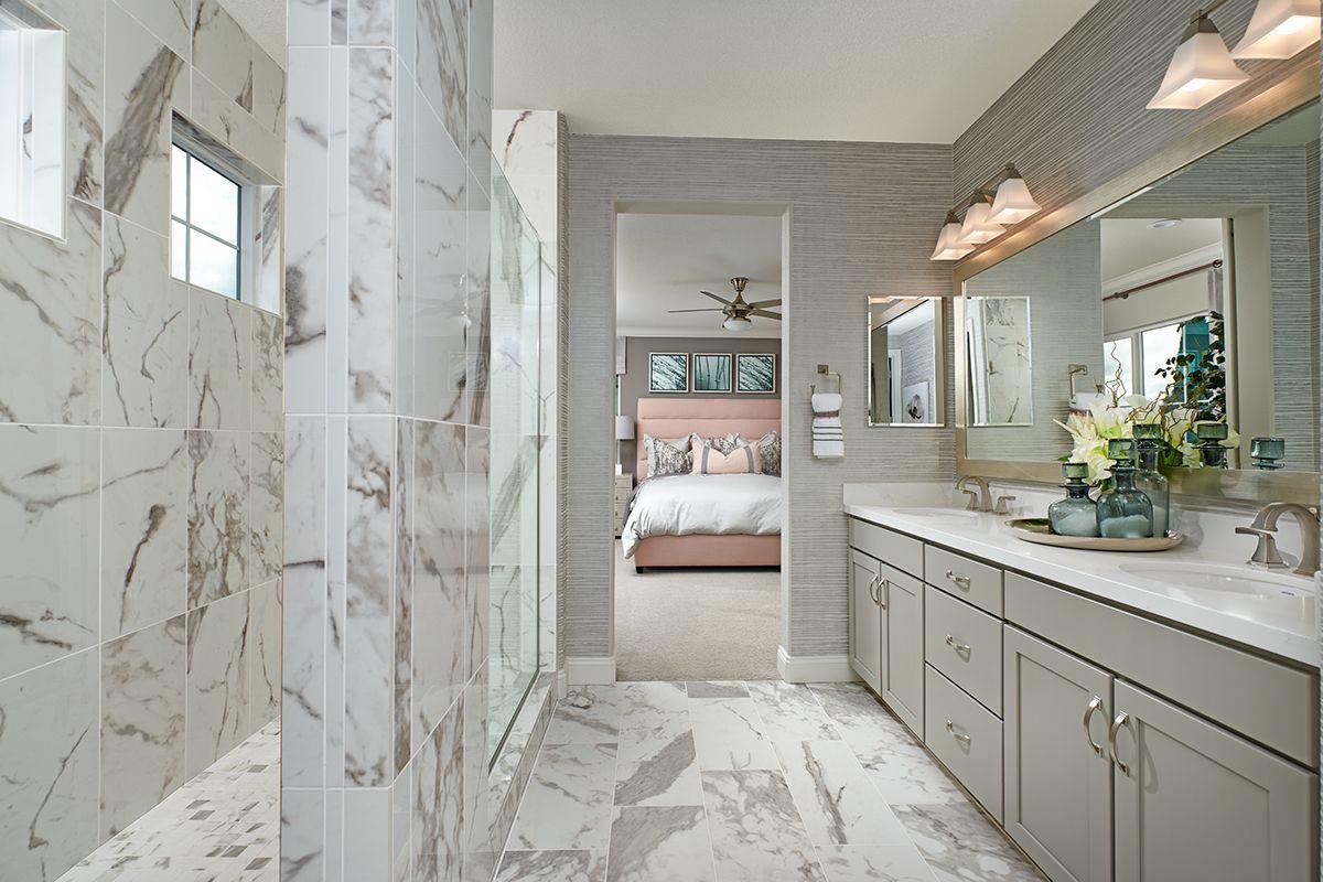Attractive tile Seth model home master bath Stockton