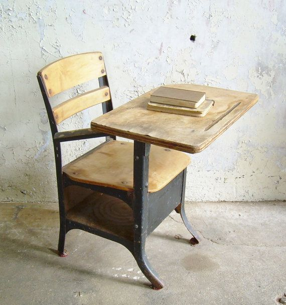 Rustic Vintage School Desk Chair Mid Century Black - Rustic Vintage School Desk Chair Mid Century Black For The Home