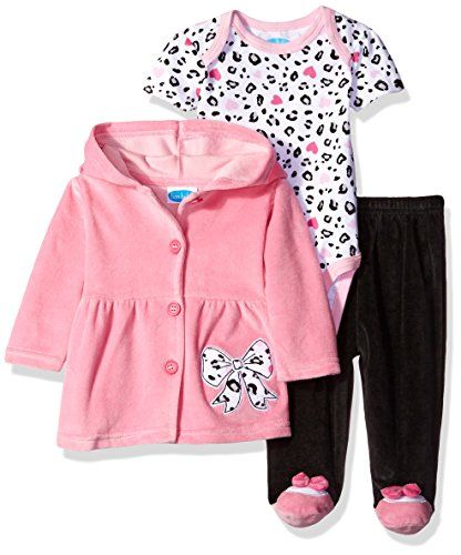 68789e942b9 BON BEBE Girls 3 Piece Set with Velour Jacket Pant and Bodysuit Pink Bow 69  Months -- Read more reviews of the product by visiting the link on the  image.