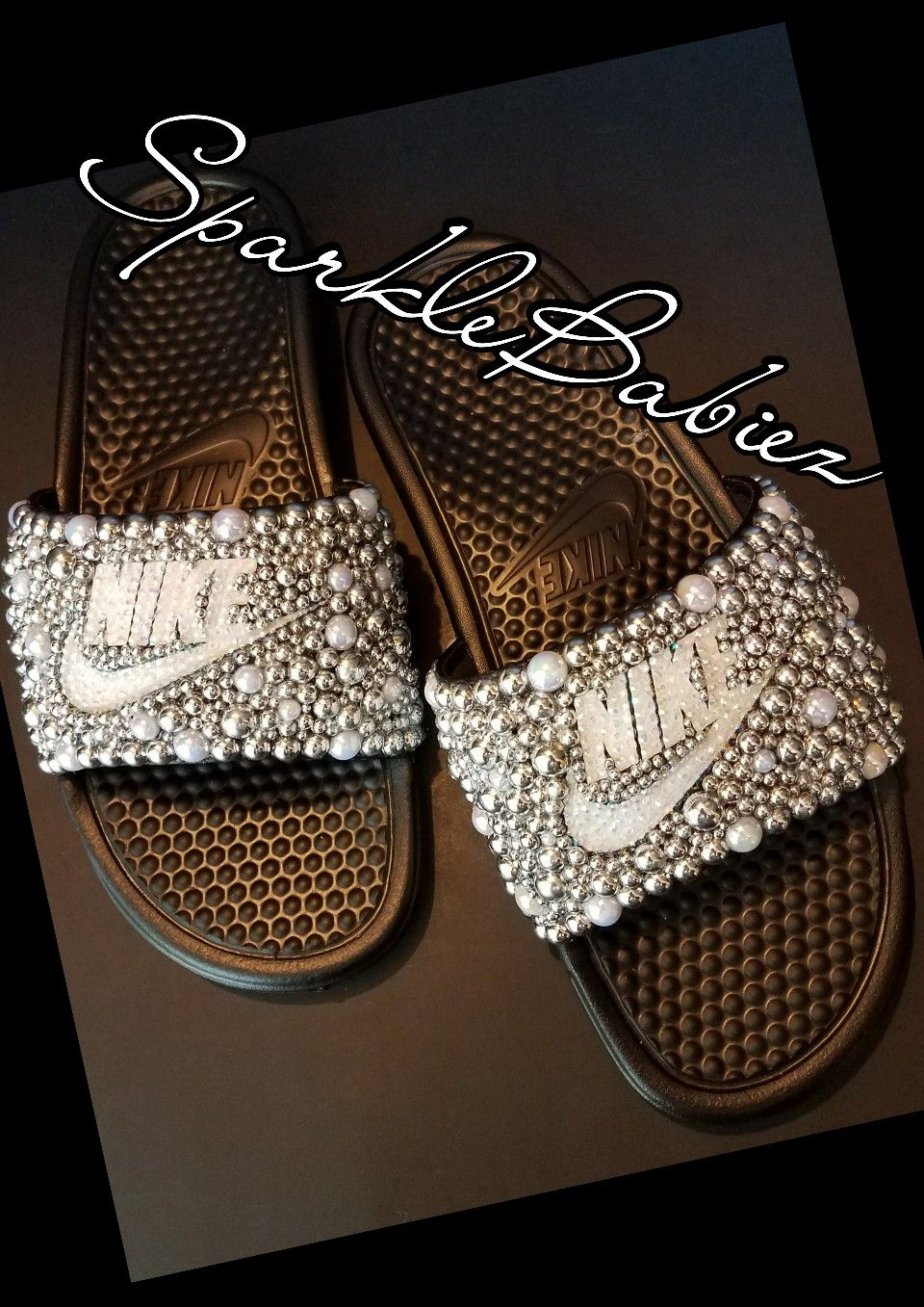 low priced 55fc6 b8f6b Custom Bling   Pearl Nike Slides  SparkleBabiez  slidesoutfit
