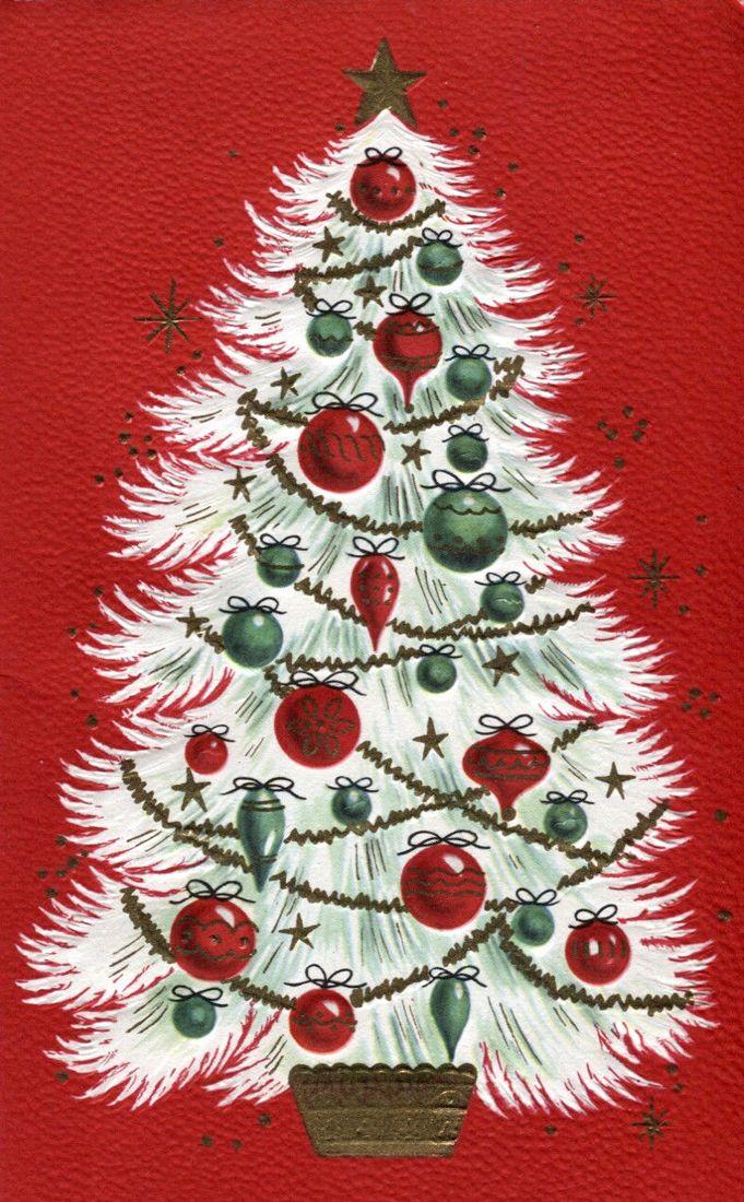 vintage white Christmas tree card