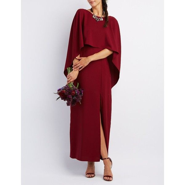 Charlotte Russe Backless Caped Maxi Dress (57 AUD) ❤ liked on Polyvore featuring dresses, gowns, wine, backless maxi dress, sexy evening dresses, red evening dresses, red ball gown and red bridesmaid dresses