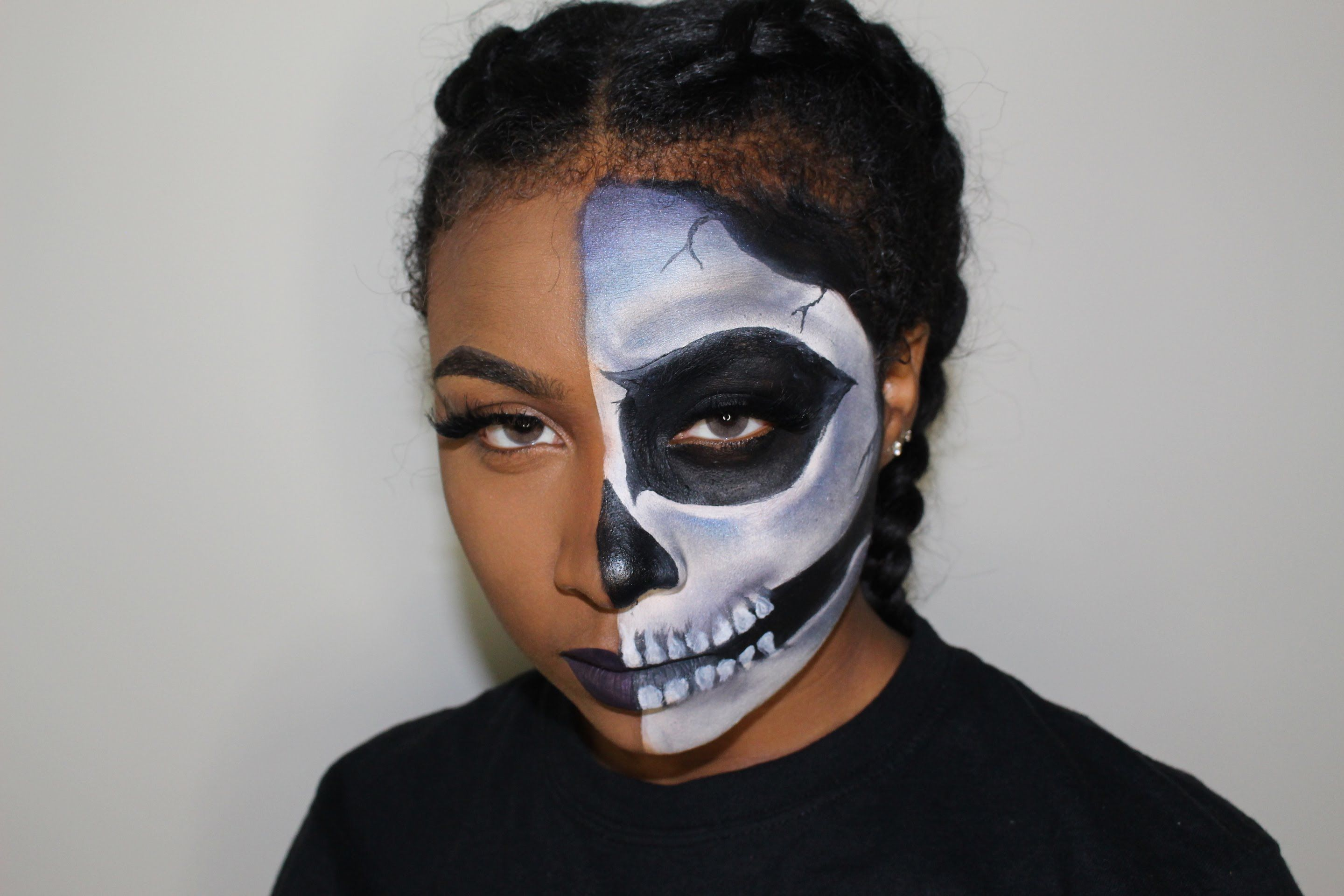 Half Skull Halloween Makeup Tutorial Beginner Friendly