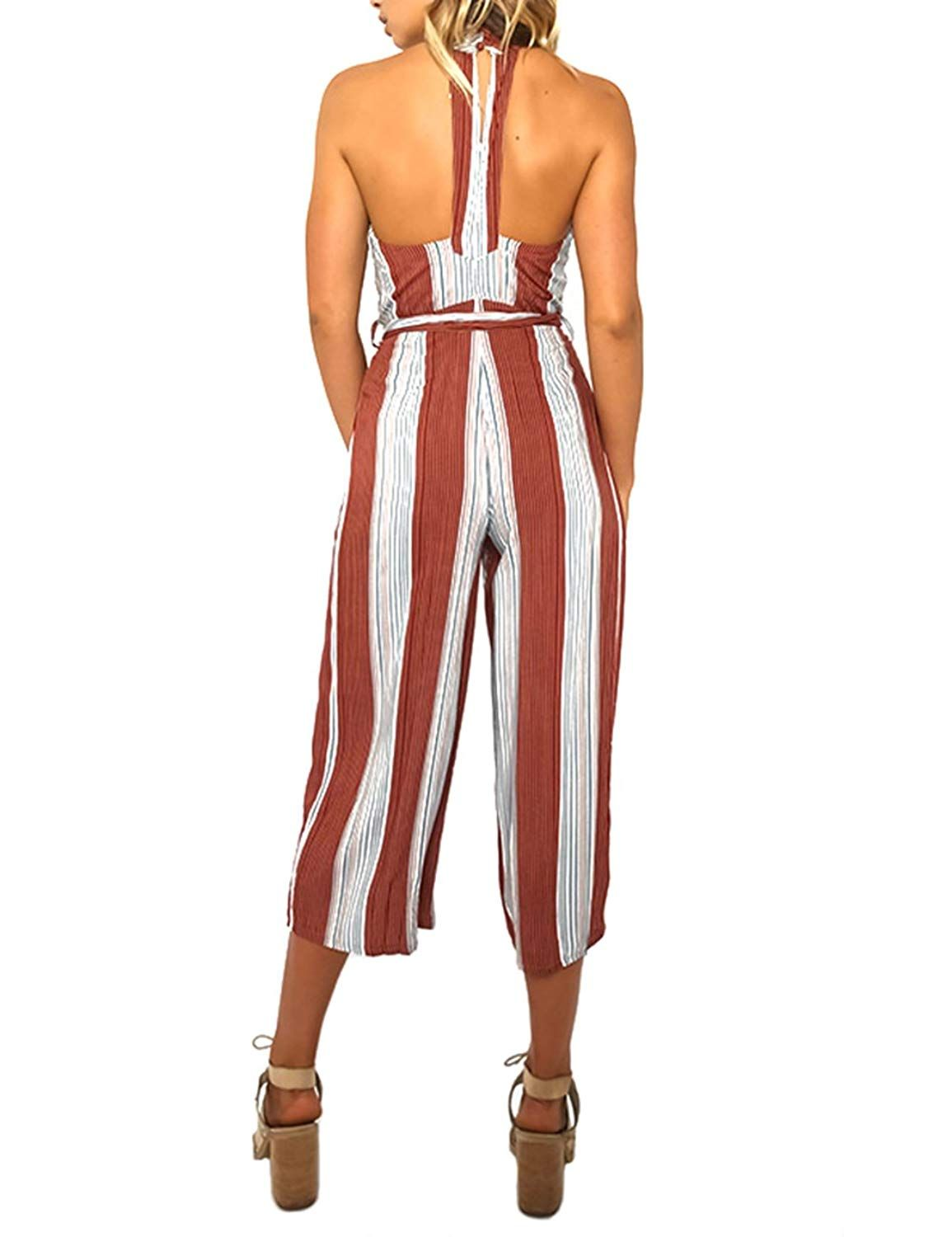 0bd63047283 Velius Women Jumpsuit Sexy Sleeveless Halter High Waist Stripe Backless Wide  Leg Pants Romper     Check out the image by visiting the link.