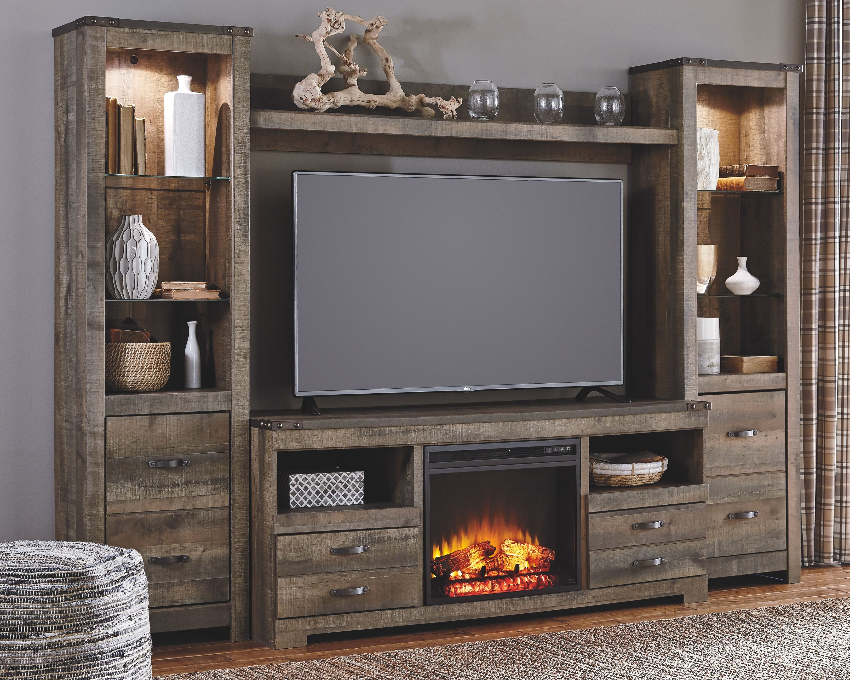 home entertainment fireplace living room furniture pinterest decor trinell 4 piece center with electric brown