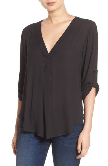 Lush V-Neck Crepe Blouse available at #Nordstrom