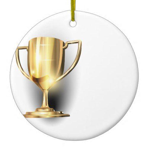 Gold Trophy Ceramic Ornament