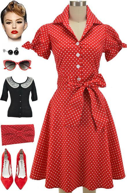 50s Style PLUS SIZE RED POLKA DOT Tie Sleeve Full Skirt Rockabilly ...