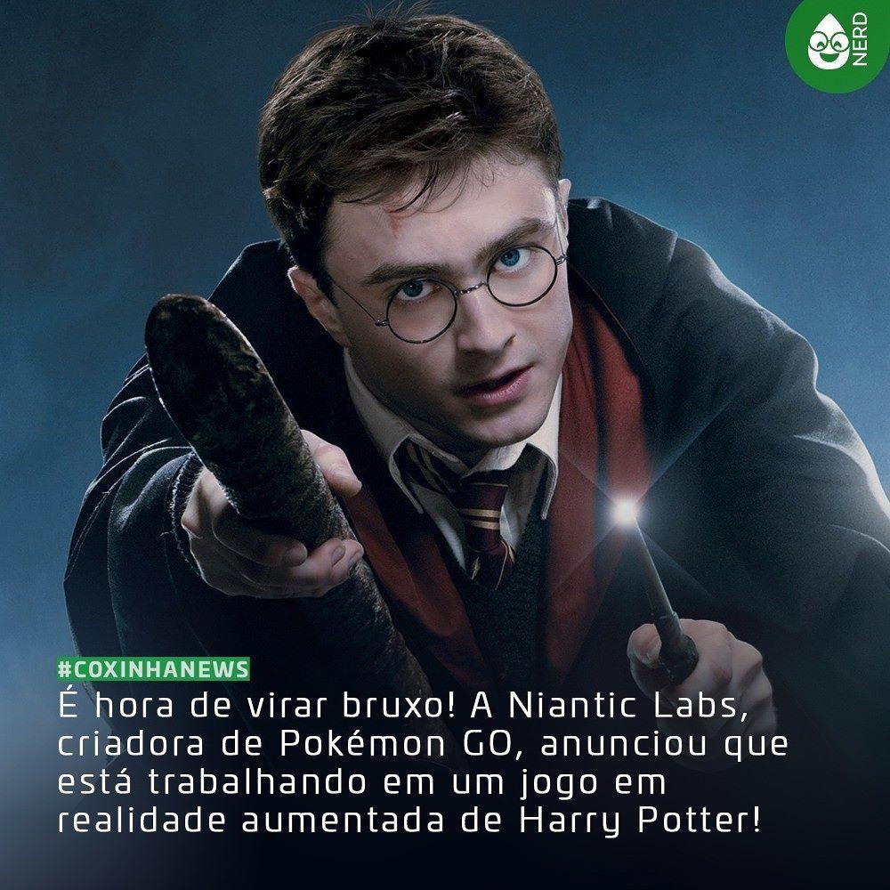 """#CoxinhaNews Segundo um comunicado oficial sobre o lançamento de Harry Potter: Wizard Unite """"jogadores farão feitiços explorarão vizinhanças reais e cidades para descobrir e batalhar contra feras lendárias e se unirão para combater inimigos poderosos""""  #TimelineAcessivel #PraCegoVer  Foto do do Harry Potter (Daniel Radcliffe) com a notícia: É hora de virar bruxo! A Niantic Labs criadora de Pokémon GO anunciou que está trabalhando em um jogo em realidade aumentada de Harry Potter!  TAGS: #coxinhanerd #nerd #geek #geekstuff #geekart #nerd #nerdquote #geekquote #curiosidadesnerds #curiosidadesgeeks #coxinhanerd #coxinhagames #games #videogames #viciadosemgames #dicadegame #harrypotter #pokemongo #niantic"""