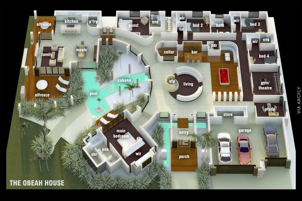 Dekorasi Rumah Minimalist 50 Denah Rumah Minimalis 3d 3 Kamar Tidur 2 Lantai Dan 2 Kamar Tidur Denah Rumah Denah Lantai Rumah Rumah Minimalis
