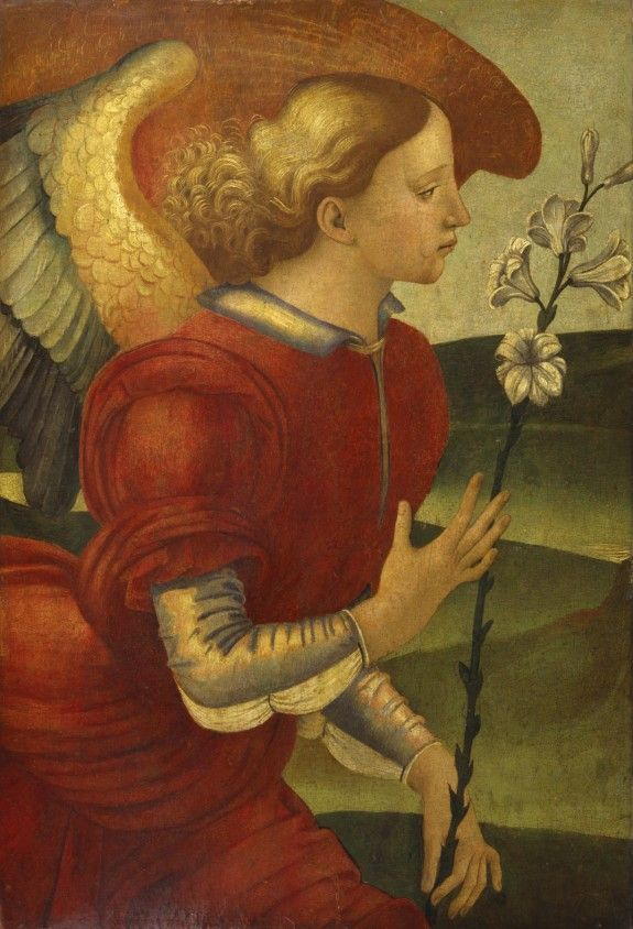 The Archangel Gabriel, c.1490, Luca Signorelli; Gabriel holds his attribute, a lily, symbol of purity, and of the Virgin Mary's virginity. (Walters Museum)