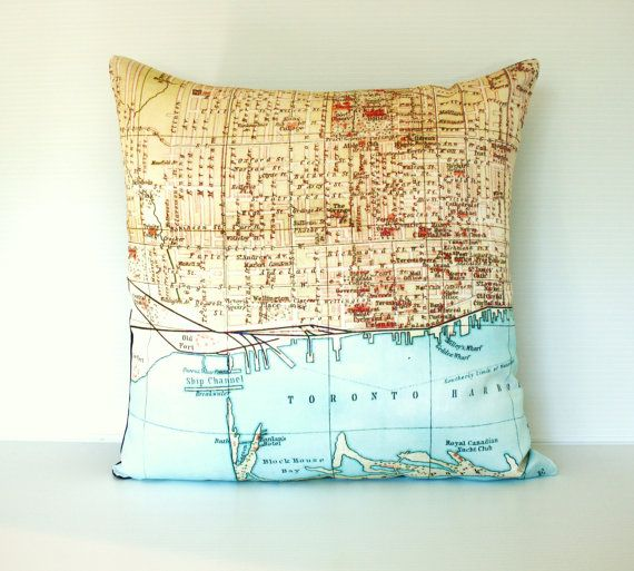 Throw Pillow Cushion Cover Map Pillow Torontomap Pillow Etsy Map Pillow Throw Pillows Cushion Pillow Covers