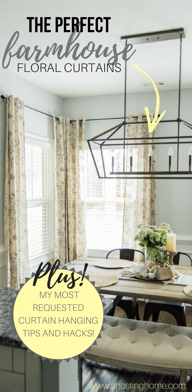 The Perfect Farmhouse Floral Curtains + My Curtain Hanging ... on Dining Room Curtains Farmhouse  id=75394