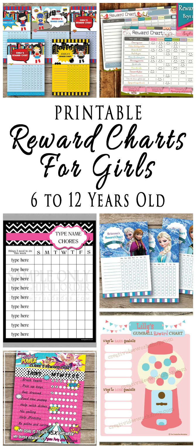 Printable Reward Charts For Kids 6 To 12 Years Old Behavior Cahrts Homework C And Punch Cards