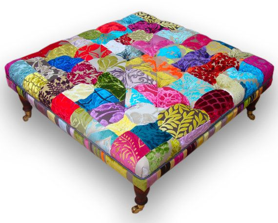 Large Patchwork Footstool Coffee Table In Designers Guild Velvets