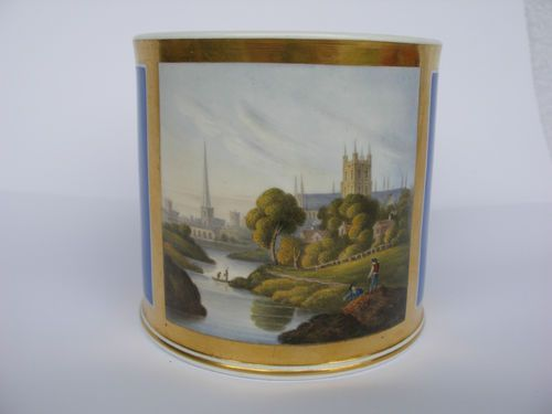 C19th MUG WITH SCENE WORCESTER, from DIGLIS MEADOWS A/F.