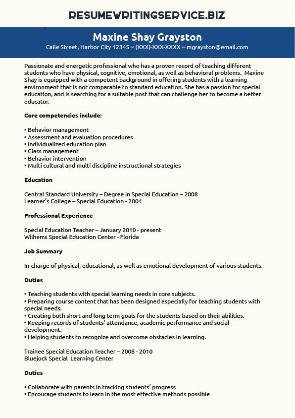 Special Education Teacher Resume Sample Student/Career Pinterest