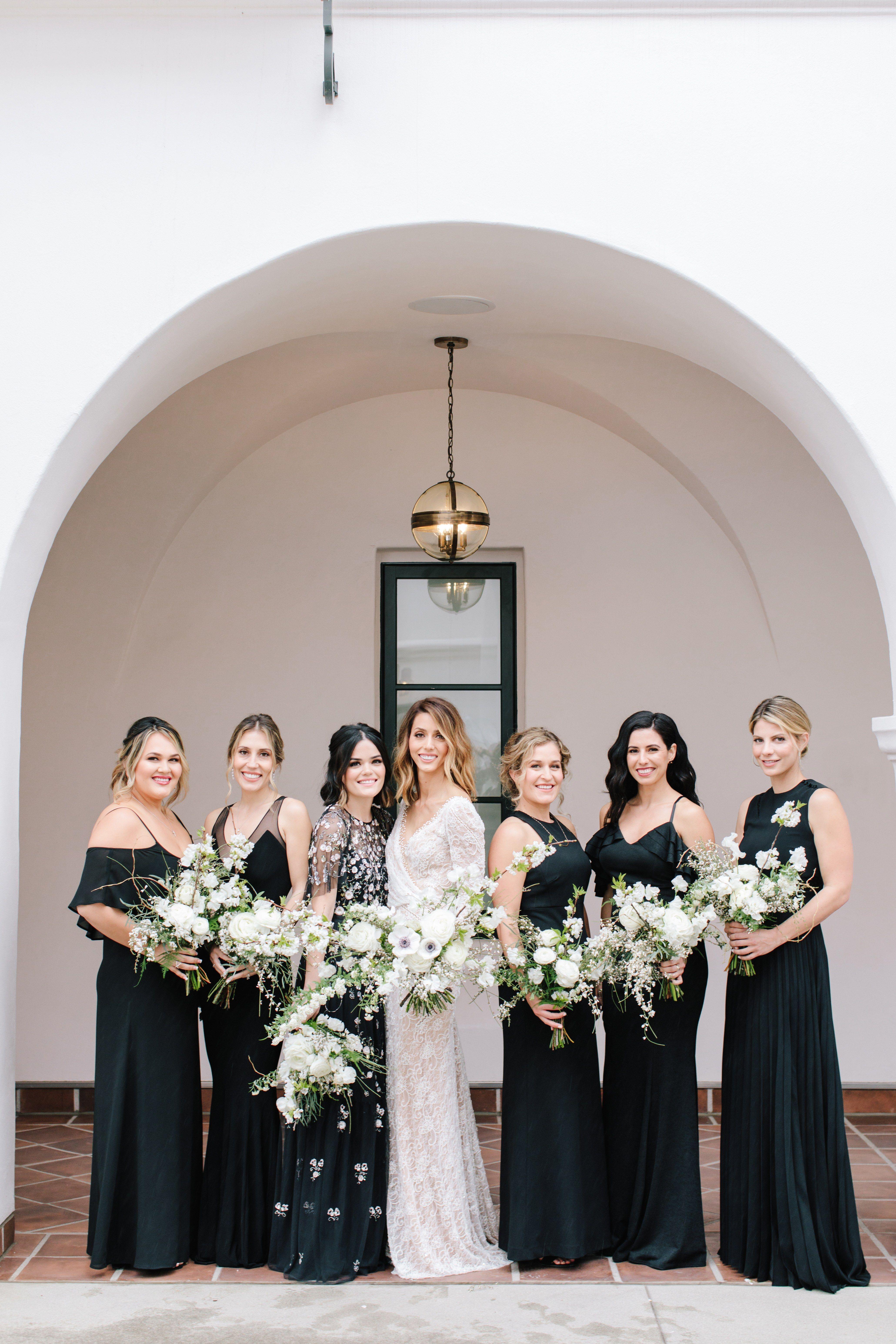 A Black And White Hotel Wedding In Santa Barbara Black Bridesmaid Dresses Floral Bridesmaid Dresses Black Bridesmaid Dress Mismatched [ 6182 x 4121 Pixel ]