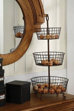 High Quality Amazon.com   Creative Co Op Rust Metal 3 Tier Basket   Home Storage Baskets.  Vegetable StandVegetable ...
