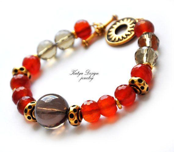 Reserved bracelet stones smoky quartz carnelian by katenadesign, $47.00