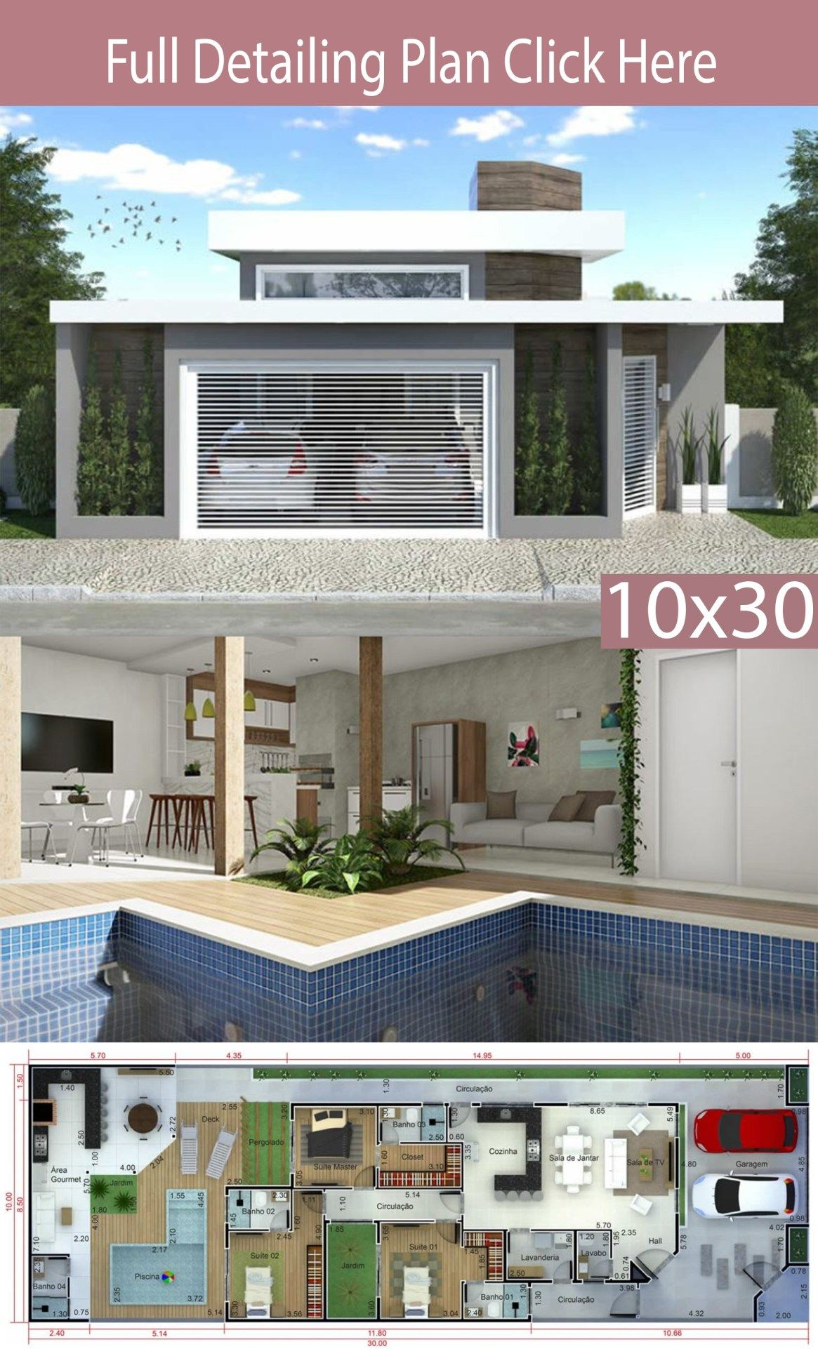 Home Design 10x30m With 3 Bedrooms Home Design With Plansearch Small House Design Plans Modern House Floor Plans House Design