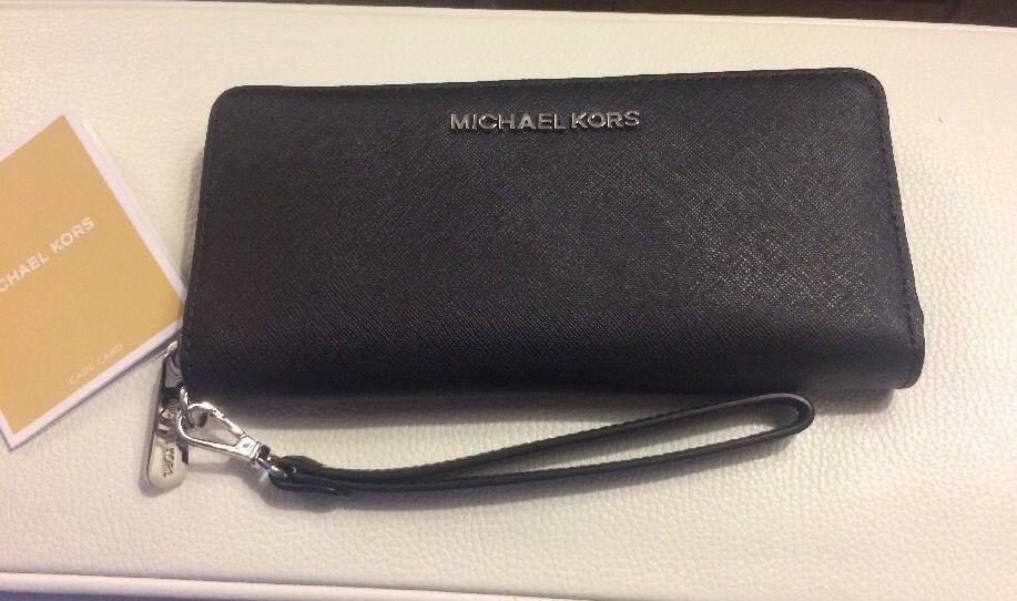 4de7e4a0324a Michael Kors Jet Set Travel Large Continental Wallet Saffiano Leather Black  NWT