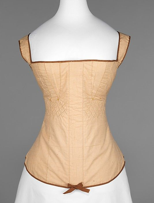 This is a corset made in 1810 out of cotton, which was a material very popular in 1810.