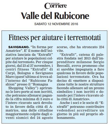 """""""Fitness per aiutare i terremotati"""" (Corriere di Romagna, 12 novembre 2016)"""