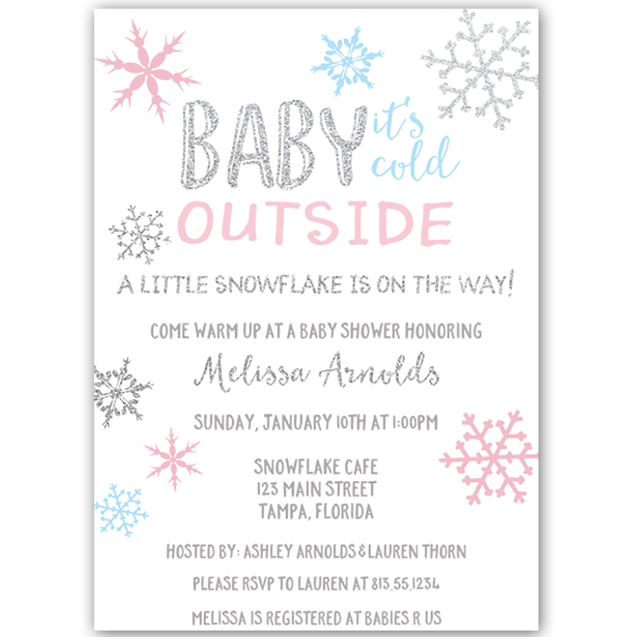 Little Snowflake Baby Shower Invitation | Snowflake baby shower ...