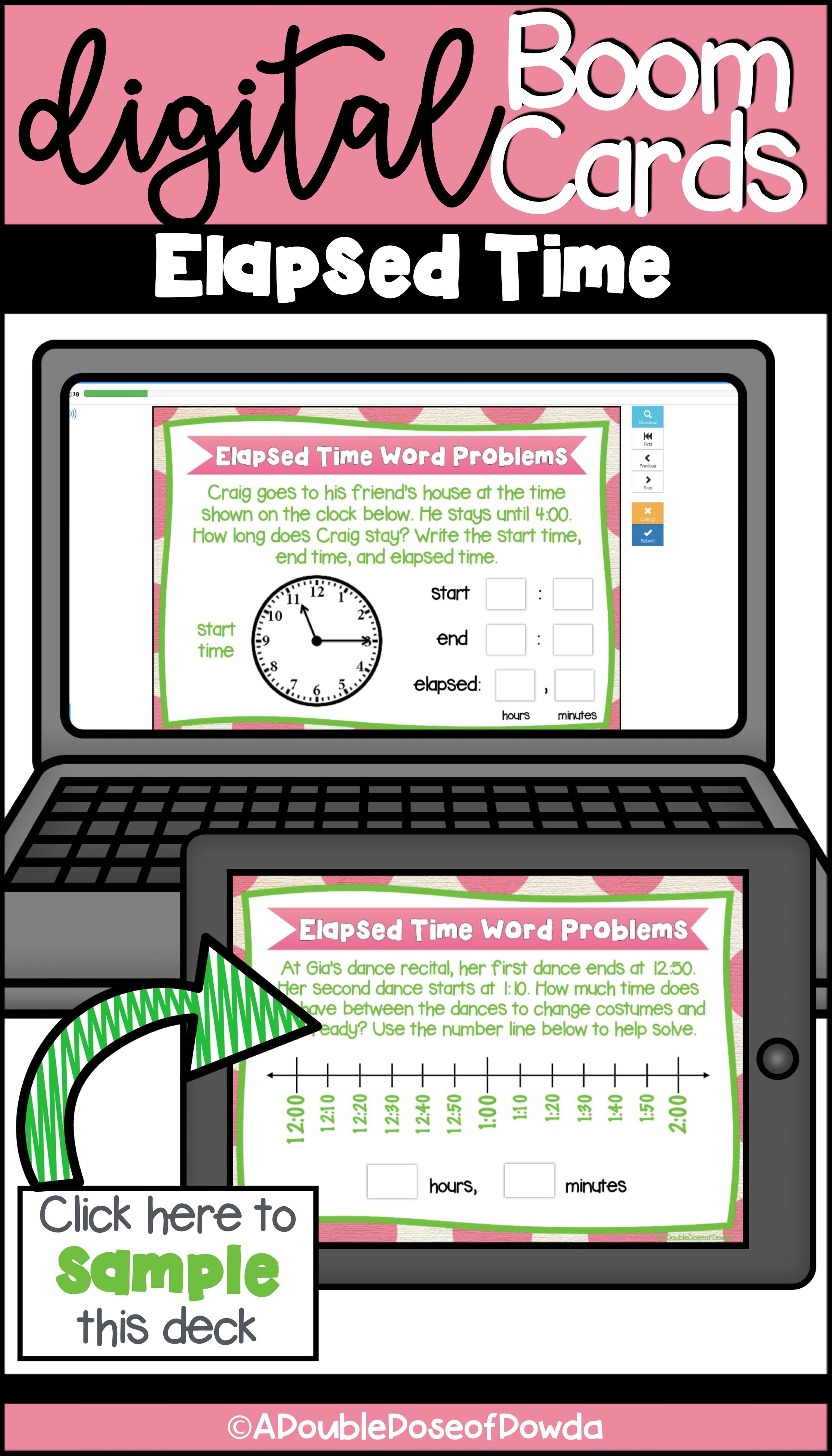 Self Grading Elapsed Time Word Problem Task Cards For Boom